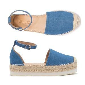 Schutz Darla Platform espadrille denim sandals NEW